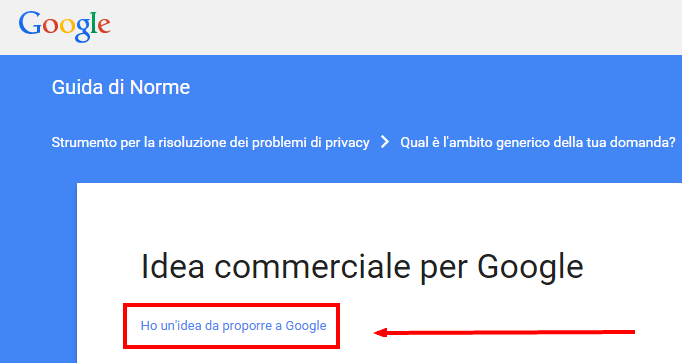 Come segnalare idea commerciale a Google proposta partnership